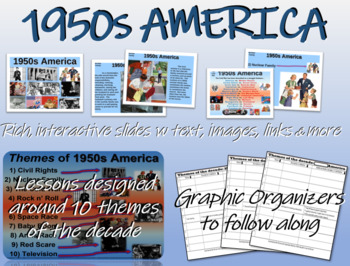 US HISTORY -1950s America - visual, textual, engaging 61-slide PPT
