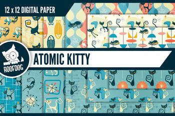 1950s Atomic Kitty Mid-Century modern digital paper, retro atomic designs
