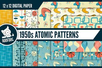 1950s Atomic Mid-Century modern digital paper, retro atomic designs