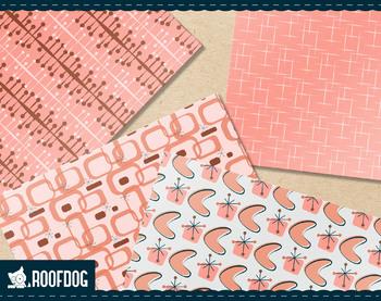 1950s Atomic Mid-Century modern digital paper, retro atomic pink and gray