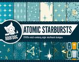 1950s Atomic Starburst Mid-Century modern digital paper, r