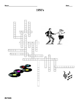 1950's Crossword Puzzle-  FREE  U.S. History