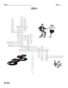 1950's Crossword Puzzle-  FREE  U.S. History