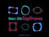 1950s Digital Frames Clipart, Frame Clipart, Retro Digital Frames