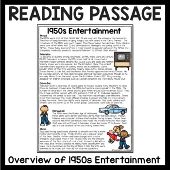 1950s Entertainment Reading Comprehension, Fifties; Music; Movies; Drive-ins