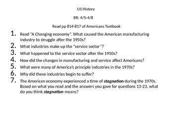 The Americans textbook- bell work activity for pages 814-817