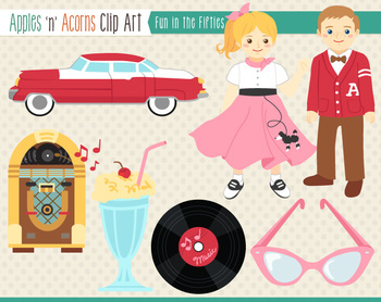 1950s Fun in the Fifties Clip Art - color and outlines