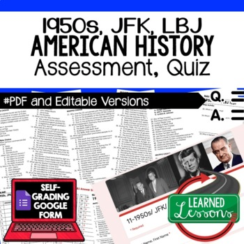 1950s JFK, LBJ Test and Quiz, American History Assessment