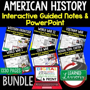 JFK, New Frontier, Great Society Notes & PowerPoints, US History, Print,  Digital