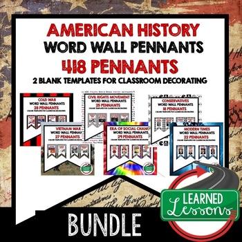 1950s Postwar, JFK, and LBJ Pennant Word Wall (American History)