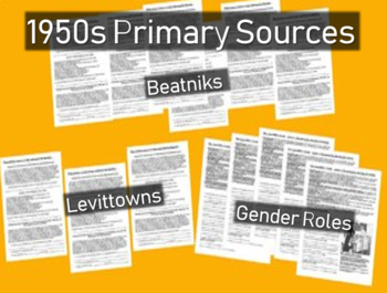 1950s Primary Source Documents with Questions (Beats, Levi