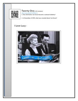 1950's BYOD Assignment - QR code link to Video clips - questions