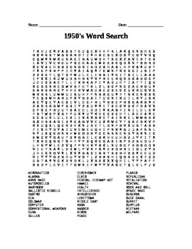 The 1950's: Word Search