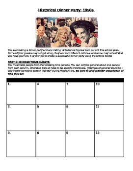 1950s- historical Dinnery Party Assignment- great for key people and ideas