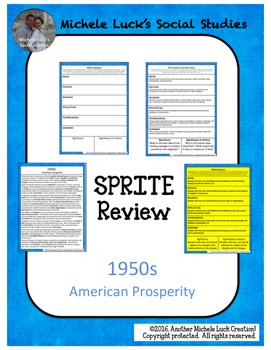 1950s in America SPRITE Reading & Social Studies Graphic Organizer