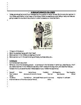 1950s women DBQ Graphic Organizer