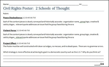 1960' Civil Rights:  Multiple Approaches Poster Acivity