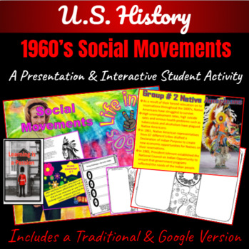 1960's America: Social Movements ~A Power-point & Interactive Student Activity ~