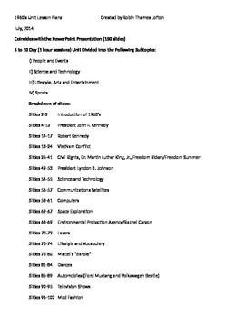 1960 unit lesson plans