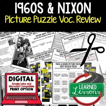 1960S & PRESIDENT NIXON Picture Puzzle Unit Review, Study Guide, Test Prep