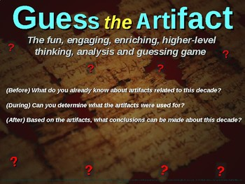 """1960s America - """"Guess the artifact"""" game: fun, engaging PPT w pictures & clues"""
