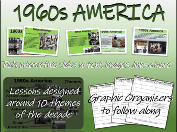 US HISTORY -1960s America - visual, textual, engaging 51-slide PPT