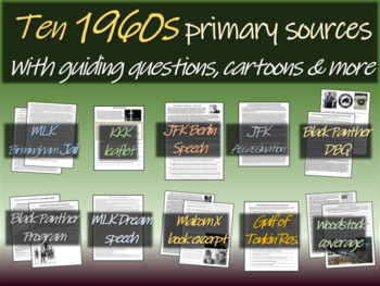 1960s Primary Source Documents (10 well-designed texts with guiding questions)