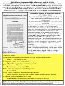 1964 Gulf of Tonkin Resolution on Vietnam Document Analysis Activity