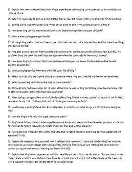 197 Questions - Stephen King's On Writing: A Memoir of the Craft with KEY