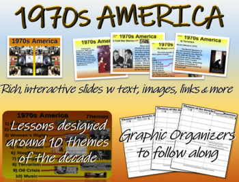 US HISTORY -1970s America - visual, textual, engaging 50-slide PPT