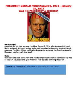 1970s: President Gerald Ford: Successful Presidency? grade him lesson plan