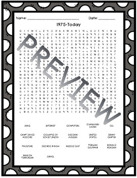1975 to Today Word Search FREEBIE