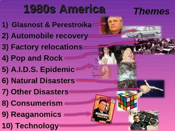 US HISTORY -1980s America - visual, textual, engaging 50-slide PPT