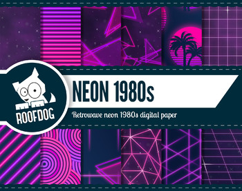 1980s Neon retro wave pink + purple