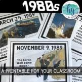 1980s Printable Timeline