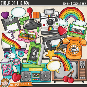 "1980s Retro / Vintage Clip Art: ""Child of the 80s"""