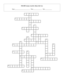 1984-2009 Grammy Album of the Year Crossword with Key