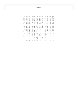 1984-2009 Grammy Album of the Year Word Search with Key