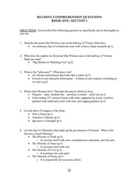 1984: Book One Study Guide Questions with Answer Key