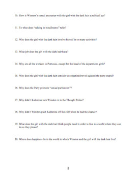 1984: Book Two Study Guide Questions with Answer Key