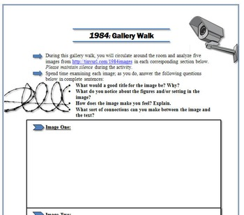 1984 Bundle: Blog Activity, Gallery Walk, & Thematic Chart for Analysis