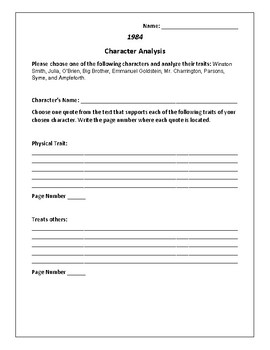 1984 Character Analysis Activity - George Orwell