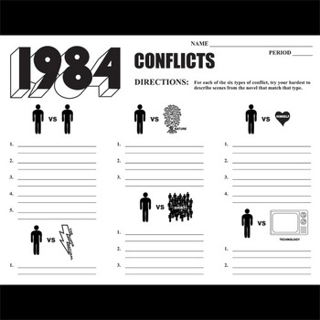 1984 Conflict Graphic Organizer - 6 Types of Conflict