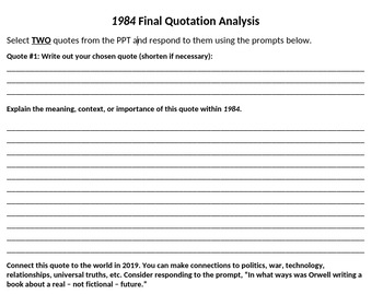 1984 Final Quotation Analysis