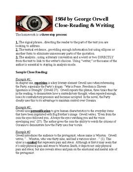 1984 George Orwell Close Reading & Writing