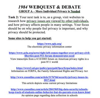 1984 - George Orwell (Privacy Webquest & Debate)