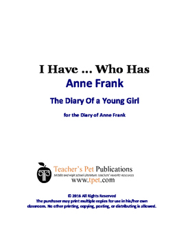 Anne Frank: Diary of a Young Girl I Have Who Has Novel Review Game