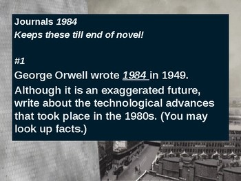 1984 Journal Entries for entire novel