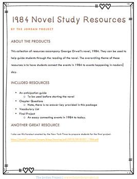 1984 Novel Study Resources
