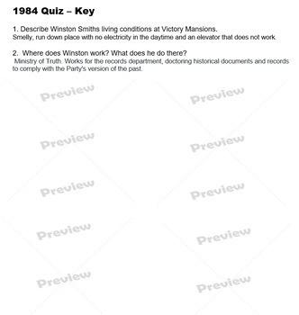 1984 Quiz & Key
